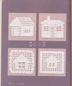Filet crochet house motifs with charts!   :)  Ivelise Feito à Mão: Apliques De Casinhas Em Crochê Filé!