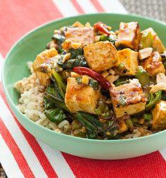 Kung Pao Tofu with Chinese Broccoli & Brown Rice