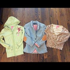LOT! H&M comfy blazer!2 Anthropologie cardigan Super cute, super comfy H&M blazer with cute suede feeling elbow patches. Kind of a sweatshirt feel.2 Charlotte Tarantola VERY expensive cardigans, no real wear on right one, minor wear/pilling on green. It's still got a ton of life left though! All sizes should fit; cardis are m, run a bit small, blazer 4. Super duper steal! Not taking measurements, no modeling, these are all packaged up and ready to go. Priced to sell, price reflects wear…
