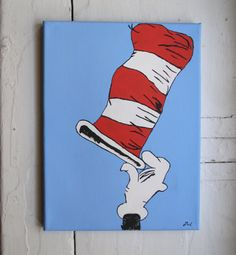 Cat in the Hat Painting Acrylic on Canvas by ZachsCustomDesigns, $44.00