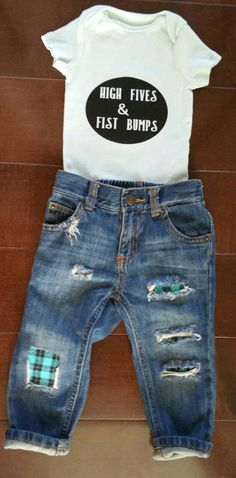 49265ce870 Baby boy/toddler boy hand distressed denim jeans outfit/blue plaid  patches/fist