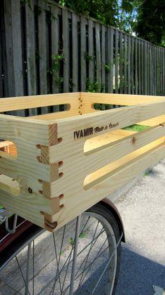 Lightweight Pine Bicycle Basket fits Beer via Etsy Bicycle Basket, Bicycle Rack, Cargo Rack, Cargo Bike, Peugeot, Retro Bike, Milk Crates, Bike Storage, Vintage Bicycles