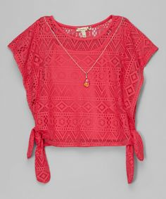 Look at this #zulilyfind! Speechless Hot Pink Lace Side-Tie Top by Speechless #zulilyfinds