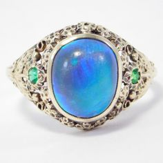 14K Rare Natural Black Opal Arts & Crafts Ring By Potter Bentley Studios