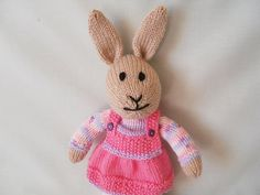 Hand Knitted Rabbit Sarah the dressed Bunny by littledazzler
