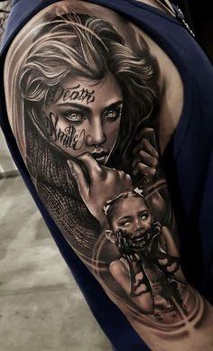 artists on Somegram Real Tattoo, Big Tattoo, Tattoo Images, Tattoo Photos, Catrina Tattoo, Full Sleeve Tattoo Design, Zombie Girl, Viking Tattoos, After Life