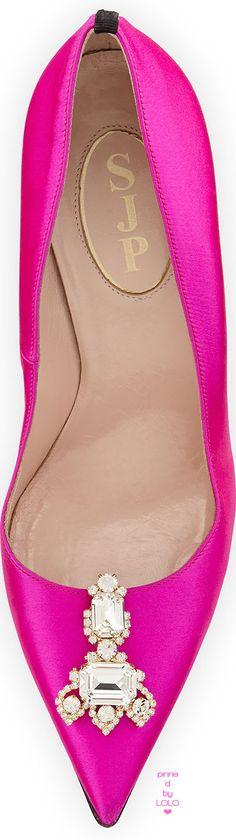 SJP by Sarah Jessica Parker Celie Satin Ornament Pump, Pink | LOLO❤
