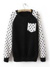 #SheInside Black Long Sleeve Polka Dot Pocket Sweatshirt $49