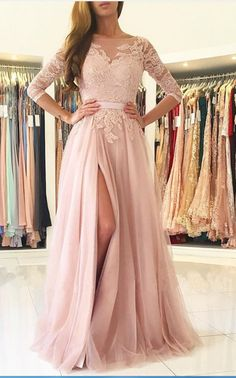 Cheap prom dresses , Sleeves Lace Appliques Tulle Women Formal Gowns with Slit Long Prom Dresses Robe De Soiree Opening Back Dusty Pink Evening Dress