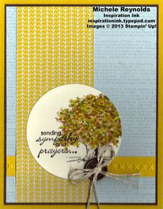 """Handmade sympathy card using Stampin' Up! products - Lovely as a Tree Set, Petite Pairs Set, Dictionary background stamp, Linen Thread, and 2-1/2"""" Circle Punch.  By Michele Reynolds, Inspiration Ink, http://inspirationink.typepad.com/inspiration-ink/2013/10/lovely-as-a-tree-fall-tree-sympathy.html."""