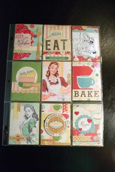Retro/Baking themed pocket letter. I included some recipes as well as the treats…