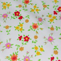 vintage 70s cotton fabric featuring cute flower by vintagevice