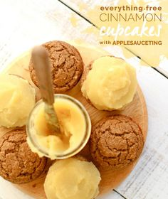 Everything-Free Cinnamon Cupcakes with Applesauceting #glutenfree #hclf #vegan #fatfree #sugarfree