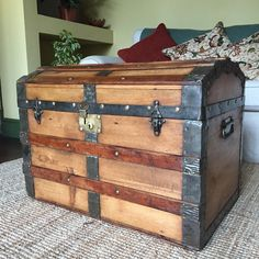 St C.c. Leather Storage Trunk Fine Very Old Vintage Industrial Steamer Army K
