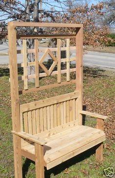 New All Cedar Wood Garden Bench Arch with Back Lattice
