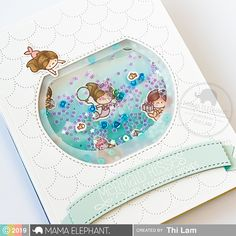 Little Mermaiden Agenda with Thi Wave Stencil, Mama Elephant Stamps, Mermaid Images, Unicorns And Mermaids, Elephant Design, Shaker Cards, Little Twin Stars, Cricut Creations, Happy Planner