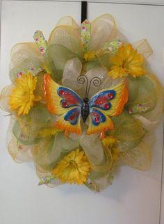 Spring Summer Butterfly  Deco Mesh Wreath  Handmake by Doris2618, $30.00