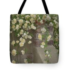 Rose Sprawling On Stone Fence Tote Bag