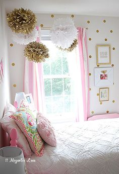 Girl's Room in Pink/White/Gold Decor! Girl's Room in Pink/White/Gold Decor! Pink Bedrooms, Teen Girl Bedrooms, Little Girl Rooms, Teen Bedroom, Pink Gold Bedroom, Small Bedrooms, White Bedroom, Pink And Gold Curtains, Teal Girls Rooms