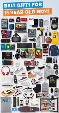 See over 680 gifts for 18 year old boys for Birthdays, Hanukkah, Christmas or any special occasion. Tons of ideas - Gadgets, games and car gift ideas. Here are the best gift ideas for 18 year old teenage boys. Cool Gifts For Teens, Gifts For Teen Boys, Games For Boys, Gifts For College Boys, Electronics Projects, 18th Birthday Gifts For Boys, Teen Birthday, Christmas Birthday, Birthday Bash