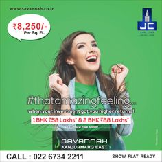#thatamazingfeeling when your investment got you higher returns! Savannah by Jaycee Homes offers 1BHK @ 58Lakhs* & 2BHK @88Lakhs*. For more details: www.savannah.co.in