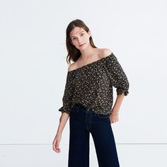 Silk Off-the-Shoulder Top in Falling Leaves