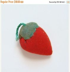 ON SALE Old Sewing Strawberry Emery Small Size Cotton Felt Needlework Tool by thenewenglandhuswife on Etsy
