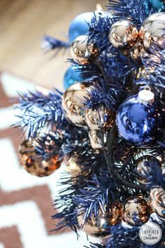Blue and Copper Christmas Tree www.inspiredbycharm.com