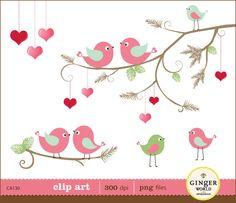 christmas bird in love clipart digital file illustration for scrapbooking…
