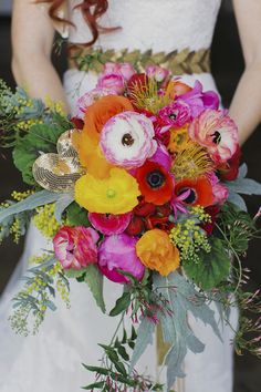 Colorful bridal bouquet   Milou + Olin Photography   see more on: http://burnettsboards.com/2014/06/anthropologie-j-crew-wedding-style/