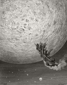 —Saint Jean et Astolphe arrivent sur la lune pour y récupérer le bon sens du paladin Roland Chant XXXIV, stance 70 : « Ils entrent dans l'empire de la lune. » Dessin de Gustave Doré, gravure sur bois de Charles Barbant. Planche hors texte imprimée dans Roland furieux, poème héroïque de L'Arioste, traduit par A.-J. du Pays et illustré de 618 dessins par Gustave Doré. Hachette et Cie (Paris), 1879, p. 443. BnF, Réserve des livres rares, Smith Lesouëf R-6551 © Bibliothèque nationale de France