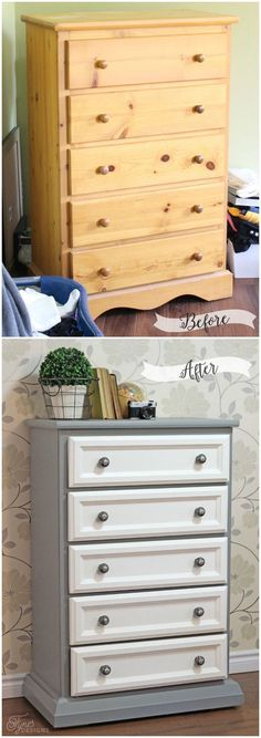 Before and After dresser makeover- trim work and paint go a long way to making a blod statement pieve #paintingfurniture #repurposedfurniturebeforeandafter