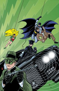Variant cover art for the June 2014 release of Batman Meets the Green Hornet comic book, written by Kevin Smith and Ralph Garman, with pencils by Ty Templeton. This variant cover art was created by Batman, series regular artist, Mike Allred Batman 1966, Batman Art, Batman Robin, Superman, Lego Batman, Comic Book Covers, Comic Books Art, Cover Art, James Gordon