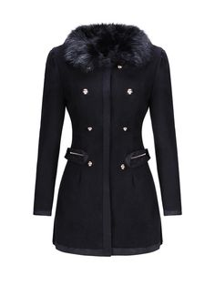 Double Breasted Faux Fur Collar Zips Coat