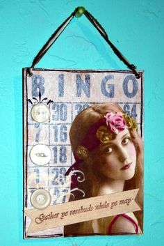 Original Collage Gather Roses altered Bingo Card by JustaBrenda