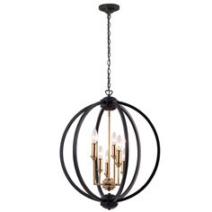 Dainolite Karland Matte Black Transitional Chandelier at Lowe's. Whether commercial or residential, Dainolite will add a unique touch to any space with this 6 Light Chandelier Matte Black Globe with Vintage Bronze Round Chandelier, Globe Chandelier, Black Chandelier, Globe Pendant, Chandelier Lighting, House Lighting, Light Pendant, Kitchen Lighting, Lustre Globe