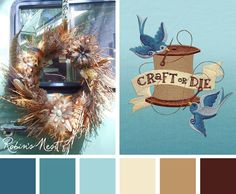 Try this soft and vintage looking Robin's Nest color scheme out on your embroidery designs.