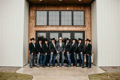 An Oklahoma Fall Wedding at Greenleaf Barn An Oklahoma Fall Wedding at Greenleaf Barn Groom and groomsmen wearing cowboy hats and jeans for a rustic fall barn wedd. wedding groomsmen attire An Oklahoma Fall Wedding at Greenleaf Barn Western Groomsmen, Country Groomsmen Attire, Country Wedding Groomsmen, Fall Wedding Groomsmen, Jeans Wedding, Groomsmen Grey, Groomsmen Outfits, Cowboy Wedding Attire, Groomsmen