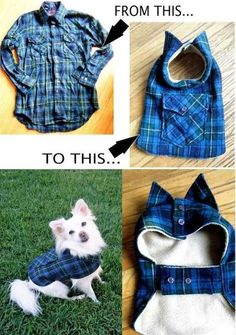 DIY Pet Coat Pattern – Sewing it Together! <br> DIY Pet Coat Pattern – Sewing it Together! This is part 2 of our coat tutorial. To get your pattern pieces, visit our first tutorial on making the pattern here. Since we are recycling junkie… Dog Crafts, Animal Crafts, Coat Patterns, Clothing Patterns, Patterns For Dog Clothes, Skirt Patterns, Sewing Patterns, Crochet Patterns, Animal Projects
