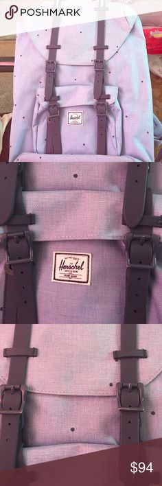 ba1afc29e1f Herschel Supply Co. Little America 🎒 It s a light blue polka dot little  America backpack