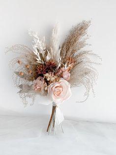 Blush Bouquet, Dried Flower Bouquet, Flower Bouquet Wedding, Bridesmaid Bouquet, Silk Flowers, Dried Flowers, Floral Wedding, Flower Decorations, Wedding Decorations