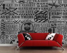 Custom vintage wallpaper barber shop elements for the wall of the barber shop sofa living room wall paper papel de parede Barber Shop Interior, Barber Shop Decor, Cheap Wallpaper, Vinyl Wallpaper, Living Room Kitchen, Living Room Sofa, Barbershop Design, Poster Art, Layout