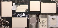 Two 12x12 wedding scrapbook pages in protective sleeves are ready for your photos. Handmade in USA. Designed from cardstock, paper, ribbon, 3D embellishments, and metal corner brads. Acid free materials were used to preserve. Shipping in sturdy protective packaging. This layout with bride gown, cake, and rings will compliment any wedding photos.