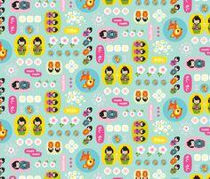 Cherry Blossom Geisha Kawaii fabric by zesti on Spoonflower - custom fabric