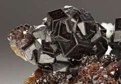 Lustrous intergrown dark rootbeer coloured crystals of Andradite Garnet, from the skarn deposits near Dognecea Romania.