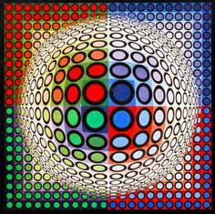 Victor Vasarely (Hungarian/French, 1906-1997) Vega-Pal-B, from Editions du Griffon print 15 3/8 x 15 3/8 inches.