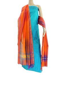 Silk Kurta & Handloom Maheshwari Dupatta- Turquoise&Orange