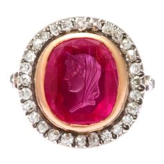 Antique Ruby Cameo of Roman Lady Diamond Ring | From a unique collection of vintage signet rings at http://www.1stdibs.com/jewelry/rings/signet-rings/