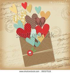 stock vector : Retro scrapbooking elements, Valentine card