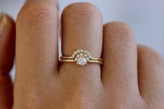 Seed Pearl Crown Ring Set